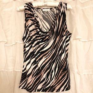 Calvin Klein cowl neck sleeveless zebra print top